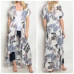 NWT White Tropical Leaf Kimono